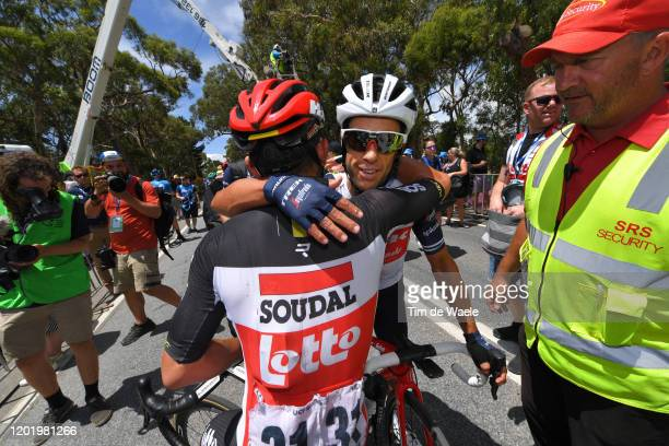 Arrival / Caleb Ewan of Australia and Team Lotto-Soudal / Richie Porte of Australia and Team Trek-Segafredo / Celebration / during the 22nd Santos...