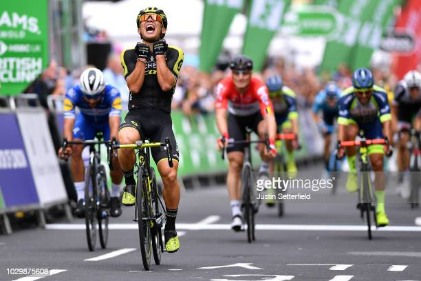Arrival / Caleb Ewan of Australia and Team MitcheltonScott / Celebration / Fernando Gaviria of Colombia and Team QuickStep Floors / Andre Greipel of...