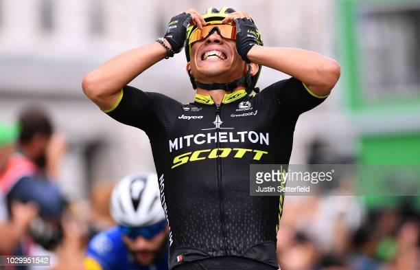 Arrival / Caleb Ewan of Australia and Team MitcheltonScott / Celebration / during the 15th Tour of Britain 2018 Stage 8 a 77km stage from London to...