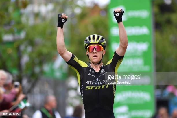 Arrival / Cameron Meyer of Australia and Team MitcheltonScott / Celebration / during the 15th Tour of Britain 2018 Stage 2 a 1749km stage from...