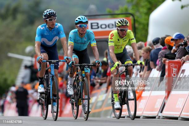 Arrival / Carlos Verona of Spain and Movistar Team / Luis León Sánchez of Spain and Astana Pro Team / Eliot Lietaer of Belgium and Team Wallonie...