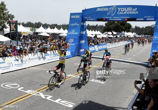 Arrival / Celebration / Amgen Race Leader Jersey / Tadej Pogacar of Slovenia riding for UAE Team Emirates and overall winner / during the 14th Amgen...