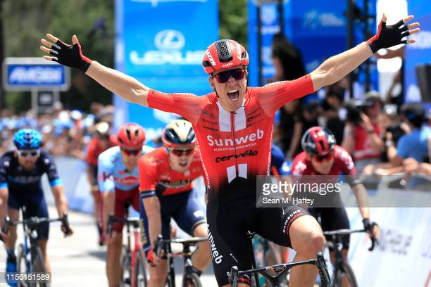 Arrival / Celebration / Cees Bol of The Netherlands and Team Sunweb / crosses the finish winning the 14th Amgen Tour of California 2019, Stage 7 a...