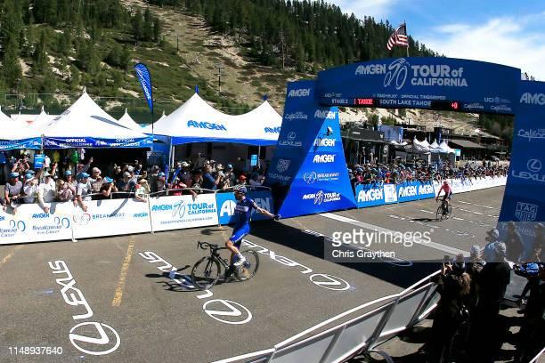 Arrival / Celebration / Kasper Asgreen of Denmark and Team Deceuninck - Quick-Step / celebrates after winning during the 14th Amgen Tour of...
