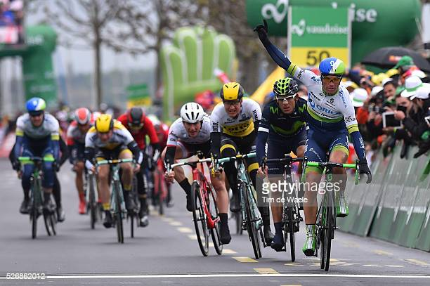 Arrival celebration Michael Albasini Andrey Amador Wilco Kelderman Niccol������ Bonifazio during stage 5 of the Tour de Romandie on May 1 2016 in...