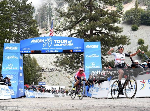 Arrival / Celebration / Tadej Pogacar of Slovenia celebrates victory during the 14th Amgen Tour of California 2019 Stage 6 a 1275km stage from...
