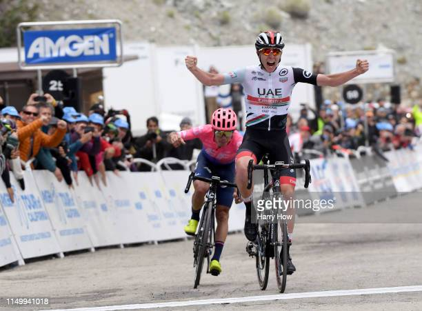 Arrival / Celebration / Tadej Pogacar of Slovenia riding for UAE Team Emirates / Sergio Andres Higuita Garcia of Colombia riding for EF Education...