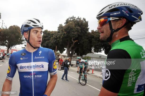Arrival / celebration / Visit California Sprint Leader jersey Kasper Asgreen of Denmark and Team Deceuninck - Quick-Step / stage winner Fabio...