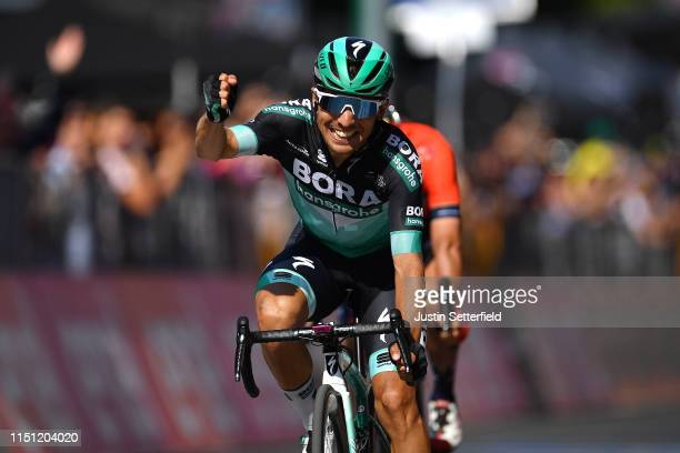 Arrival / Cesare Benedetti of Italy and Team Bora - Hansgrohe / Celebration / during the 102nd Giro d'Italia 2019, Stage 12 a 158km stage from Cuneo...