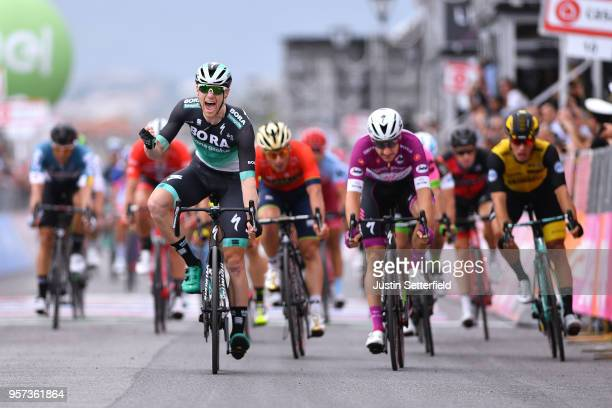Arrival / Cesare Benedetti of Italy and Team BoraHansgrohe / Celebration / Elia Viviani of Italy and Team QuickStep Floors Purple Points Jersey /...