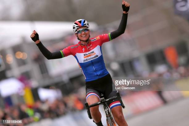 Arrival / Chantal Blaak of The Netherlands and Boels Dolmans Cycling Team / Celebration / during the 13th Omloop Het Nieuwsblad 2019, Women a 122,9km...