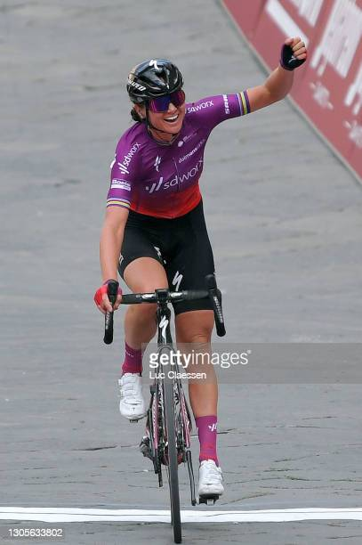 Arrival / Chantal Van Den Broek - Blaak of The Netherlands and Team SD Worx Celebration, during the Eroica - 7th Strade Bianche 2021, Women's Elite a...