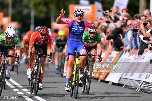 Arrival / Chiara Consonni of Italy and Valcar Cylance Cycling Team / Celebration / Lorena Wiebes of The Netherlands and Team Parkhotel Valkenburg...