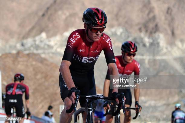 Arrival / Chris Froome of The United Kingdom and Team INEOS / during the 6th UAE Tour 2020, Stage 2 a 168km stage from Hatta to Hatta Dam 419m /...
