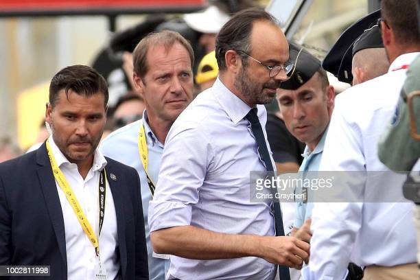 Arrival / Christian Prudhomme of France TDF Director ASO / Edouard Philippe of France, French Prime Minister / during the 105th Tour de France 2018,...