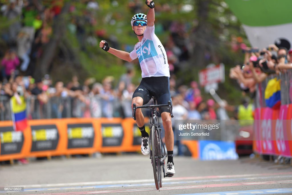 Arrival / Christopher Froome of Great Britain and Team Sky / Celebration / during the 101st Tour of Italy 2018, Stage 19 a 185km stage from Venaria Reale to Bardonecchia - Jafferau 1908m / Giro d'Italia / on May 25, 2018 in Turin, Italy.