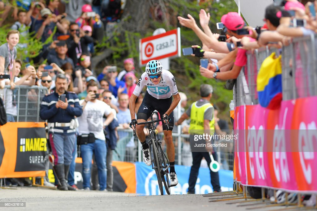 Arrival / Christopher Froome of Great Britain and Team Sky / Fans / Public / during the 101st Tour of Italy 2018, Stage 19 a 185km stage from Venaria Reale to Bardonecchia - Jafferau 1908m / Giro d'Italia / on May 25, 2018 in Turin, Italy.