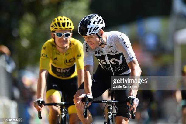 Arrival / Christopher Froome of Great Britain and Team Sky / Geraint Thomas of Great Britain and Team Sky Yellow Leader Jersey / during the 105th...
