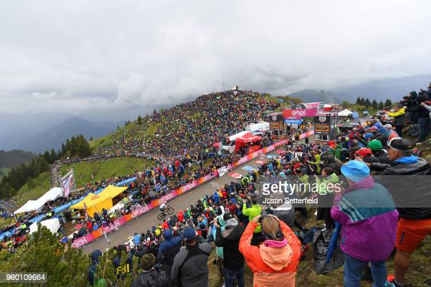 Arrival / Christopher Froome of Great Britain and Team Sky / Monte Zoncolan / Mountains / Fans / Public / Landscape / during the 101st Tour of Italy...