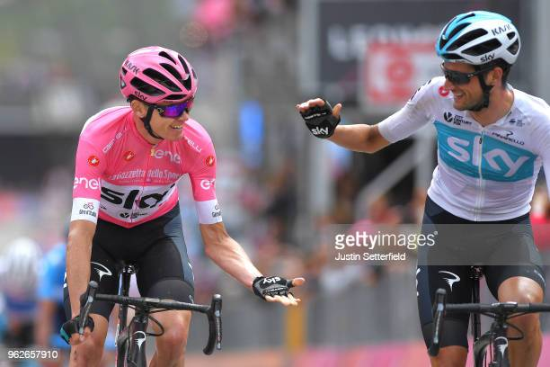 Arrival / Christopher Froome of Great Britain and Team Sky Pink Leader Jersey / Wout Poels of The Netherlands and Team Sky / Celebration / during the...