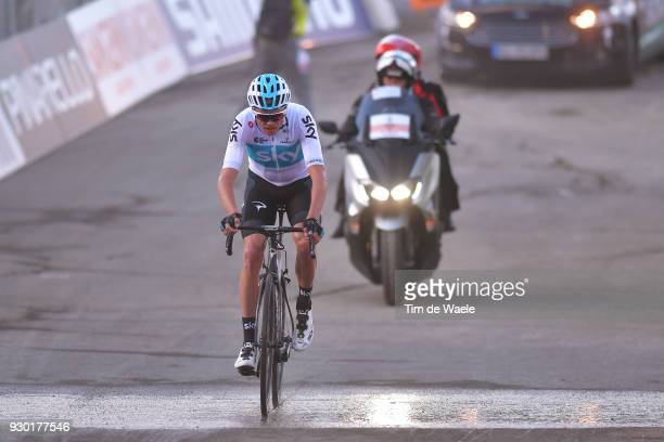 Arrival / Christopher Froome of Great Britain / during the 53rd TirrenoAdriatico 2018 Stage 4 a 219km stage from Follonica to Sarnano Sassotetto...