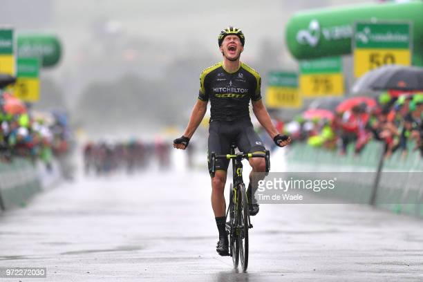 Arrival / Christopher Juul Jensen of Denmark and Team Mitchelton-Scott / Celebration / Rain / during the 82nd Tour of Switzerland 2018, Stage 4 a...