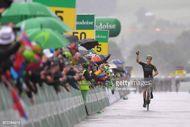 Arrival / Christopher Juul Jensen of Denmark and Team Mitchelton-Scott / Celebration / Rain / Public / Fans / during the 82nd Tour of Switzerland...