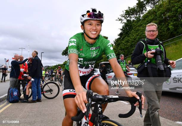 Arrival / Coryn Rivera of The United States and Team Sunweb Green Leader Jersey / Celebration / during the 5th OVO Energy Women's Tour 2018 Stage 5 a...
