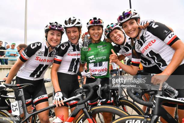 Arrival / Coryn Rivera of The United States Green Leader Jersey / Celebration / Lucinda Brand of The Netherlands / Leah Kirchmann of Canada /...