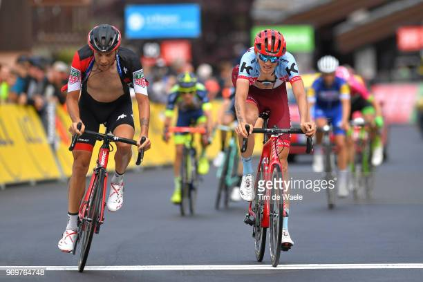 Arrival / Damiano Caruso of Italy and BMC Racing Team / Ilnur Zakarin of Russia and Team Katusha Alpecin / during the 70th Criterium du Dauphine 2018...