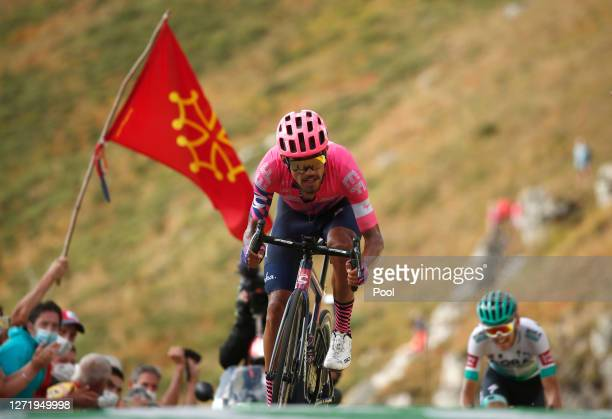 Arrival / Daniel Felipe Martinez Poveda of Colombia and Team EF Pro Cycling / Lennard Kamna of Germany and Team Bora - Hansgrohe / during the 107th...