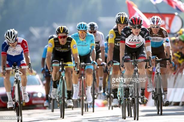 Arrival / Daniel Martin of Ireland and UAE Team Emirates / Romain Bardet of France and Team AG2R La Mondiale / Primoz Roglic of Slovenia and Team...