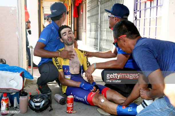 Arrival / Danilo Celano of Italy and Team Sapura Cycling Yellow Leader Jersey / Soigneur / during the 25th Le Tour de Langkawi 2020, Stage 8 a...