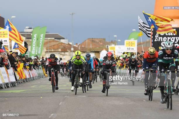 Arrival / Danilo Wyss of Switzerland and Team BMC Racing Team / Enrique Sanz of Spain and Team Euskadi Basque Country-Murias / Roberto Ferrari of...