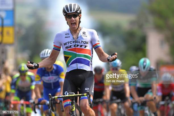 Arrival / Daryl Impey of South Africa and Team MitcheltonScott / Celebration / during the 70th Criterium du Dauphine 2018 Stage 1 a 179km stage from...