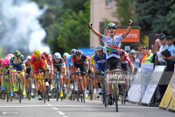 Arrival / Daryl Impey of South Africa and Team MitcheltonScott / Celebration / Julian Alaphilippe of France and Team QuickStep Floors / Pascal...