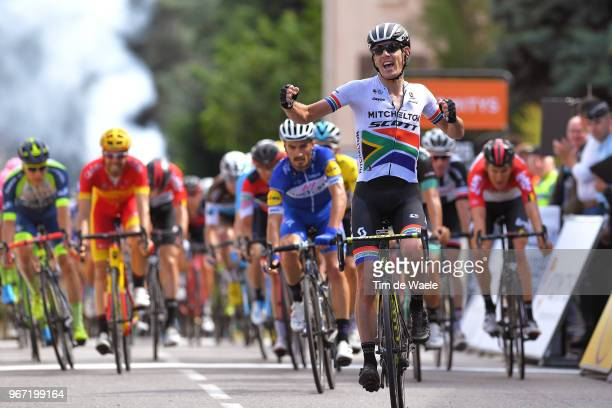 Arrival / Daryl Impey of South Africa and Team Mitchelton-Scott / Celebration / Julian Alaphilippe of France and Team Quick-Step Floors / during the...