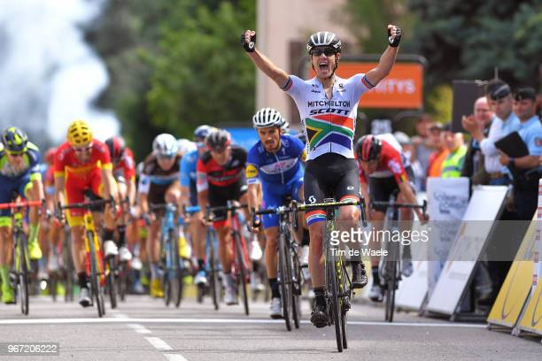 Arrival / Daryl Impey of South Africa and Team MitcheltonScott / Celebration / Julian Alaphilippe of France and Team QuickStep Floors / Jesus Herrada...