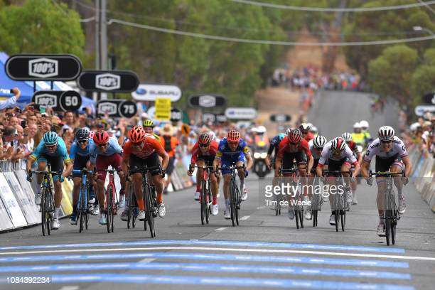Arrival / Daryl Impey of South Africa and Team Mitchelton-Scott / Celebration / Luis León Sánchez of Spain and Astana Pro Team / Ruben Guerreiro of...