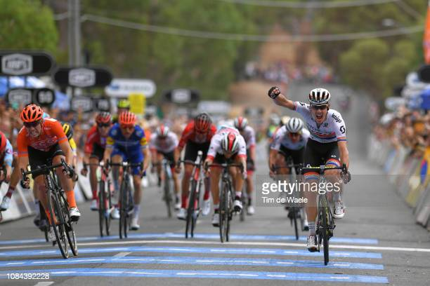 Arrival / Daryl Impey of South Africa and Team Mitchelton-Scott / Celebration / Patrick Bevin of New Zealand and CCC Team Orange Leader Jersey /...