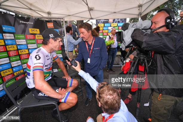 Arrival / Daryl Impey of South Africa and Team MitcheltonScott / Celebration / Press Media / during the 70th Criterium du Dauphine 2018 Stage 1 a...