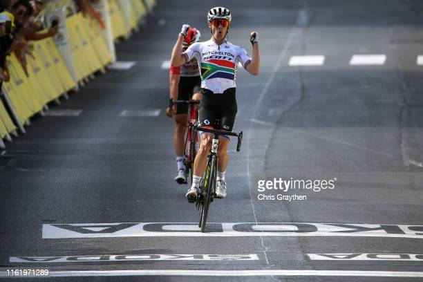 Arrival / Daryl Impey of South Africa and Team Mitchelton-Scott / Celebration / Tiesj Benoot of Belgium and Team Lotto Soudal / during the 106th Tour...