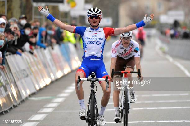 Arrival / David Gaudu of France and Team Groupama - FDJ Celebration & Clément Champoussin of France and AG2R Citroën Team during the 21st...