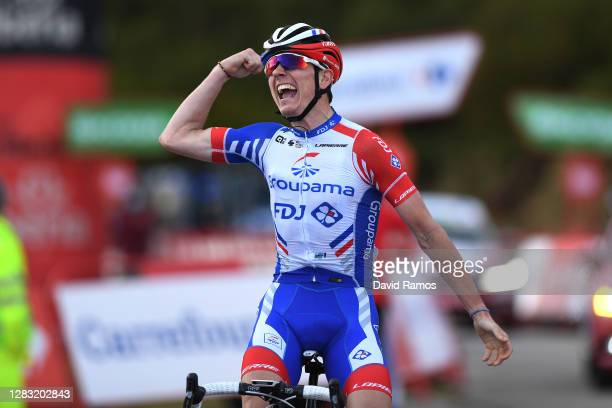 Arrival / David Gaudu of France and Team Groupama - FDJ / Celebration / during the 75th Tour of Spain 2020, Stage 11 a 170km stage from Villaviciosa...