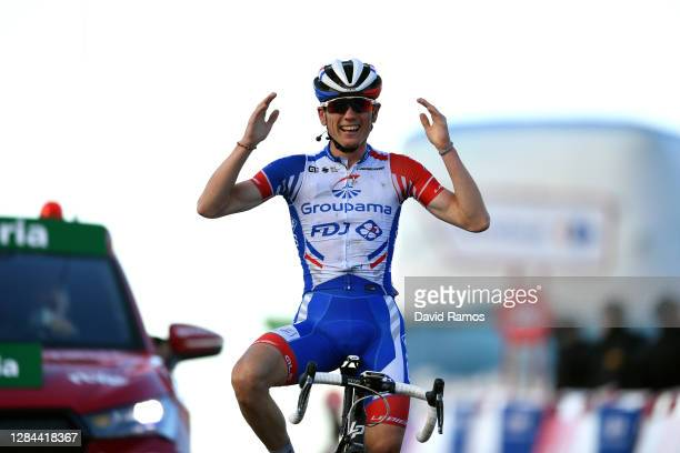 Arrival / David Gaudu of France and Team Groupama - FDJ / Celebration / during the 75th Tour of Spain 2020, Stage 17 a 178,2km stage from Sequeros to...