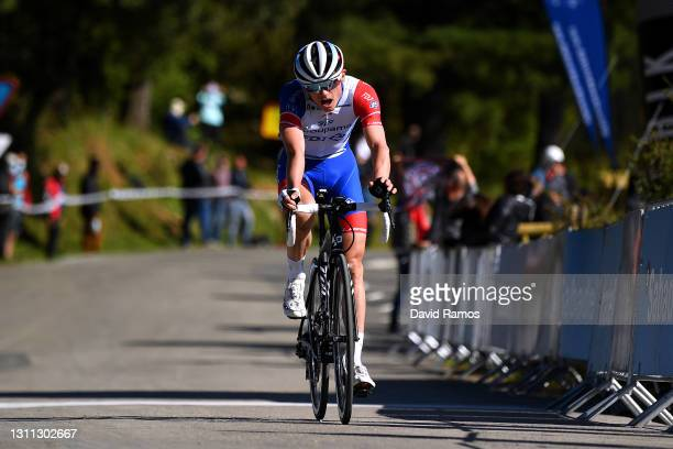 Arrival / David Gaudu of France and Team Groupama - FDJ during the 60th Itzulia-Vuelta Ciclista Pais Vasco 2021, Stage 3 a 167,7km stage from Amurrio...