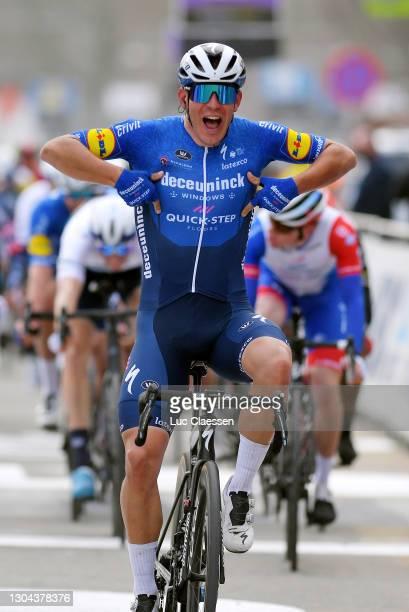 Arrival / Davide Ballerini of Italy and Team Deceuninck - Quick-Step Celebration, during the 76th Omloop Het Nieuwsblad 2021, Men's Race a 200,5km...