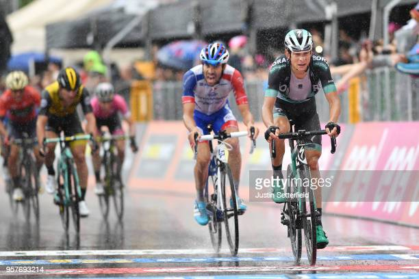 Arrival / Davide Formolo of Italy and Team Bora-Hansgrohe / Thibaut Pinot of France and Team Groupama-FDJ / Rain / during the 101th Tour of Italy...