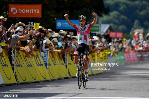 Arrival / Davide Formolo of Italy and Team UAE Team Emirates / Celebration / during the 72nd Criterium du Dauphine 2020, Stage 3 a 157km stage from...