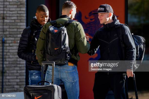 Arrival Denzel Dumfries of Holland U21 Joel Drommel of Holland U21 Rick van Drongelen of Holland U21 during the match between Arrival Holland U21 at...